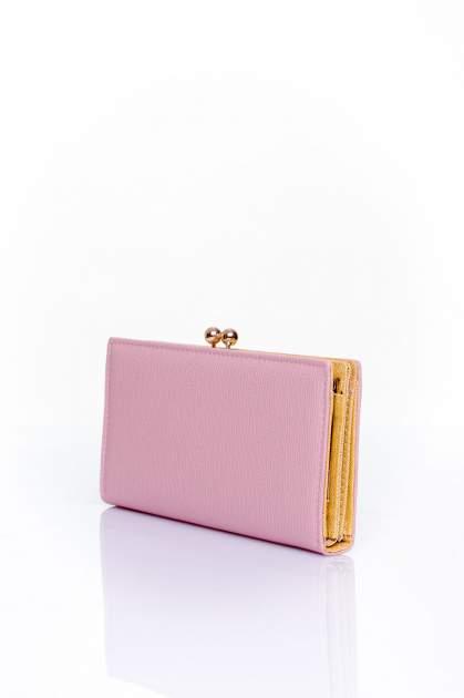 Różowy portfel z biglem efekt saffiano                                   zdj.                                  2