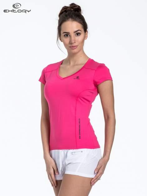 Różowy sportowy t-shirt z dekoltem U                                  zdj.                                  3
