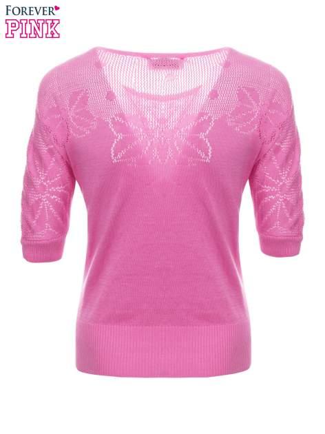 Różowy sweter z ażurową górą i krótkim rękawkiem                                  zdj.                                  7