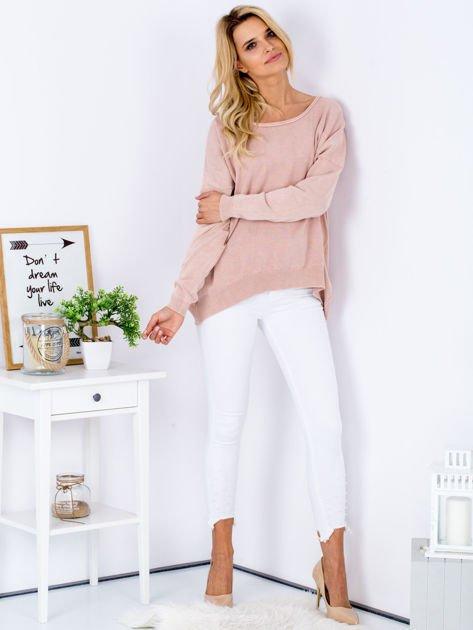 Różowy sweter z guzikami z tyłu                              zdj.                              4