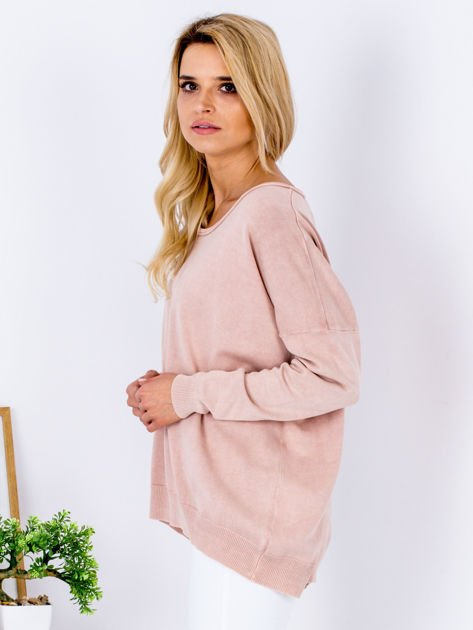 Różowy sweter z guzikami z tyłu                              zdj.                              3