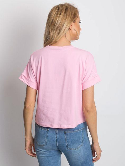 Różowy t-shirt Woodland                              zdj.                              2