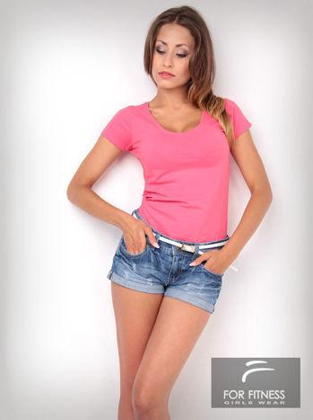 Różowy t-shirt bawełniany For Fitness