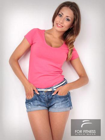 Różowy t-shirt bawełniany For Fitness                                  zdj.                                  2