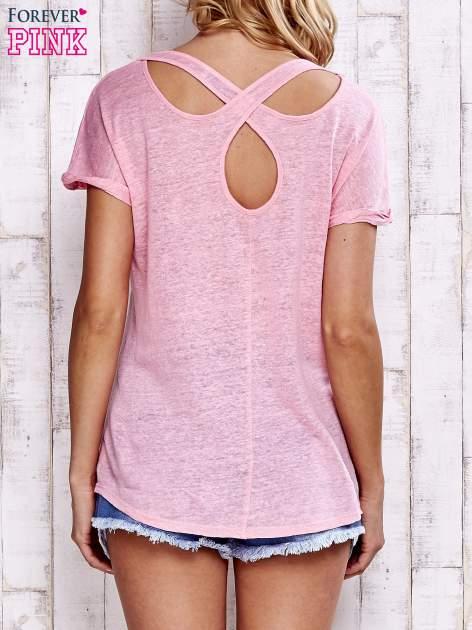 Różowy t-shirt crossed back                                  zdj.                                  4