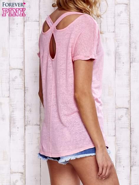 Różowy t-shirt crossed back                                  zdj.                                  5