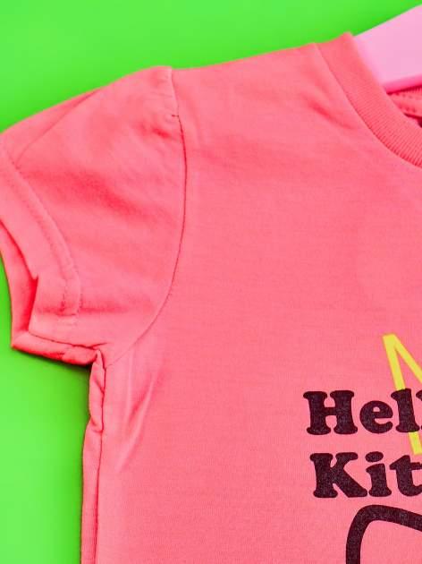Różowy t-shirt dla dziewczynki HELLO KITTY z gwiadkami                                  zdj.                                  3