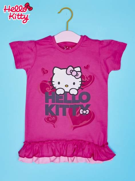 Różowy t-shirt dla dziewczynki z motywem HELLO KITTY                                  zdj.                                  1