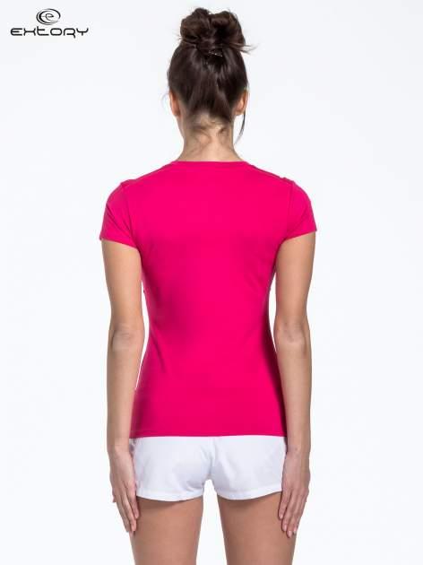 Różowy t-shirt sportowy termoaktywny                                  zdj.                                  4