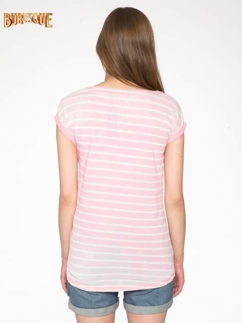 Różowy t-shirt w paski z napisem FIRENZE TOSCANA                                  zdj.                                  4