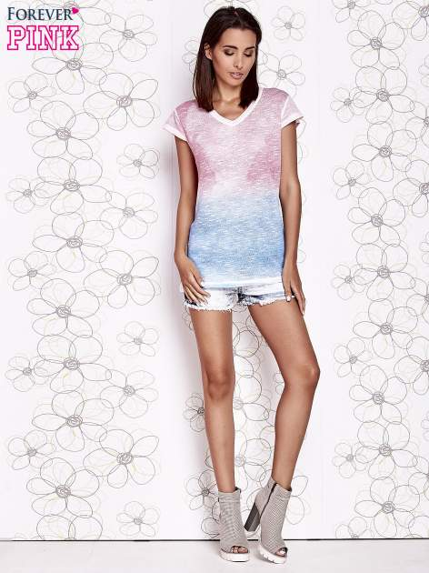 Różowy t-shirt z efektem jasnoniebieskiego ombre                                  zdj.                                  2