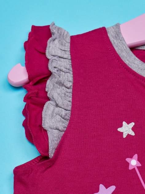 Różowy t-shirt z falbankami na rękawach dla dziewczynki ŚWINKA PEPPA                                  zdj.                                  3