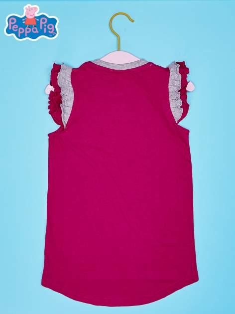 Różowy t-shirt z falbankami na rękawach dla dziewczynki ŚWINKA PEPPA                                  zdj.                                  2
