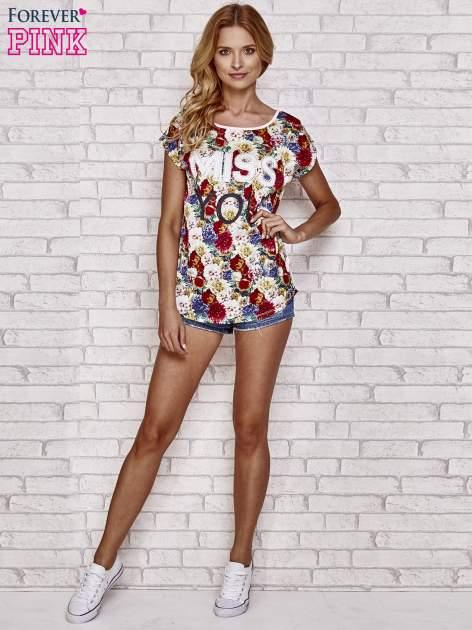 Różowy t-shirt z kwiatowym przodem z dżetami                                  zdj.                                  4