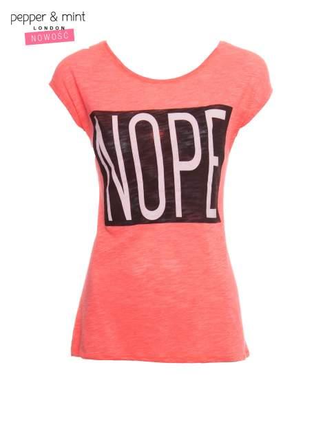 Różowy t-shirt z nadrukiem NOPE                                  zdj.                                  2