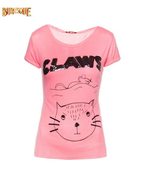 Różowy t-shirt z nadrukiem kota i myszy                                  zdj.                                  1