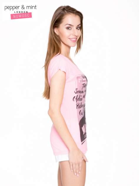 Różowy t-shirt z nadrukiem twarzy i napisem WHOM?                                  zdj.                                  3