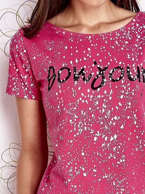 Różowy t-shirt z napisem BONJOUR                                  zdj.                                  5