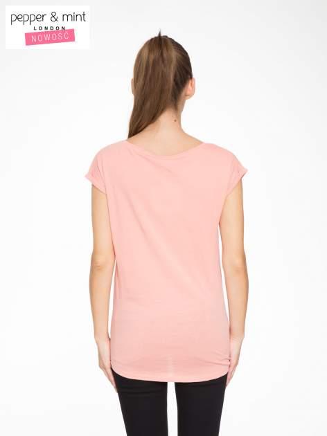 Różowy t-shirt z napisem HEAVEN IS A PLACE ON EARTH WITH YOU                                  zdj.                                  3