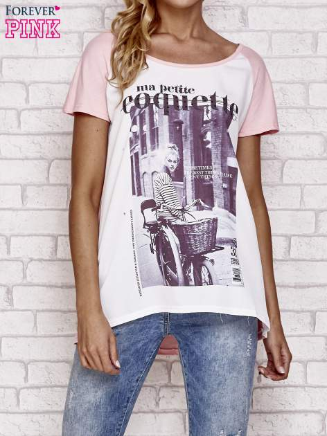 Różowy t-shirt z napisem MA PETITE COQUETTE                                   zdj.                                  1