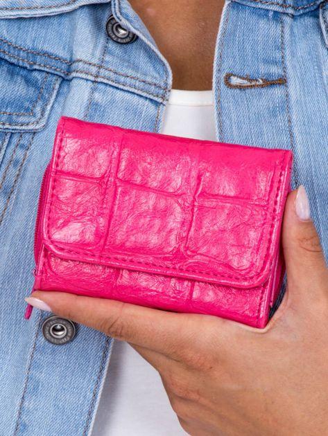 Różowy tłoczony portfel damski