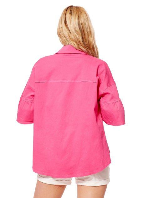 Różowy żakiet z szerokimi rękawami                              zdj.                              7