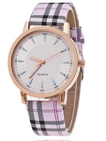 Różowy zegarek damski na pasiastym pasku