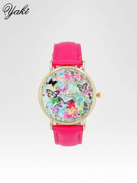 Różowy zegarek damski na pasku z kwiatową tarczą                                  zdj.                                  1