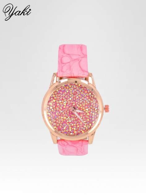 Różowy zegarek damski na pasku z tarczą glitter