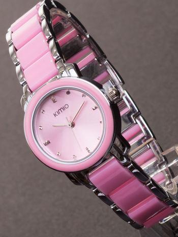 Różowy zegarek damski z cyrkoniami na bransolecie                                  zdj.                                  1