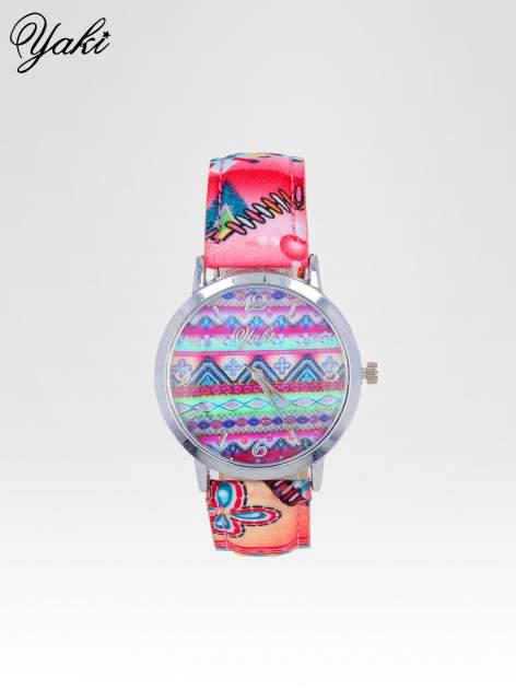 Różowy zegarek damski z motywem azteckim                                  zdj.                                  1