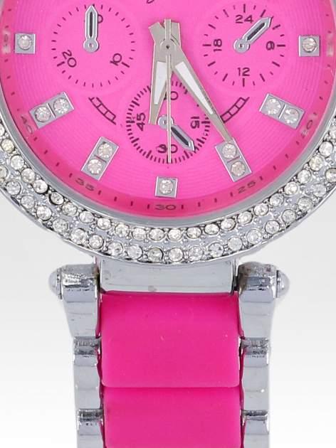 Różowy zegarek na bransolecie z cyrkoniami na tarczy                                  zdj.                                  5