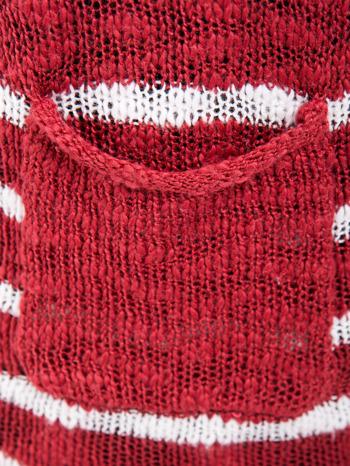 Rozpinany kardigan z kieszeniami w biało-czerwone paski                                  zdj.                                  6