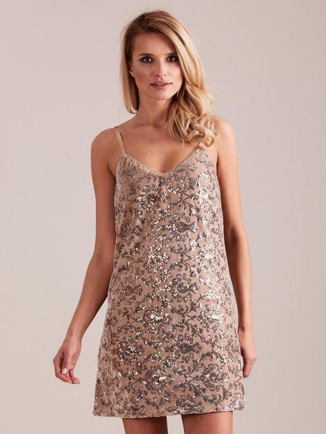 Beżowa sukienka mini                               zdj.                              4
