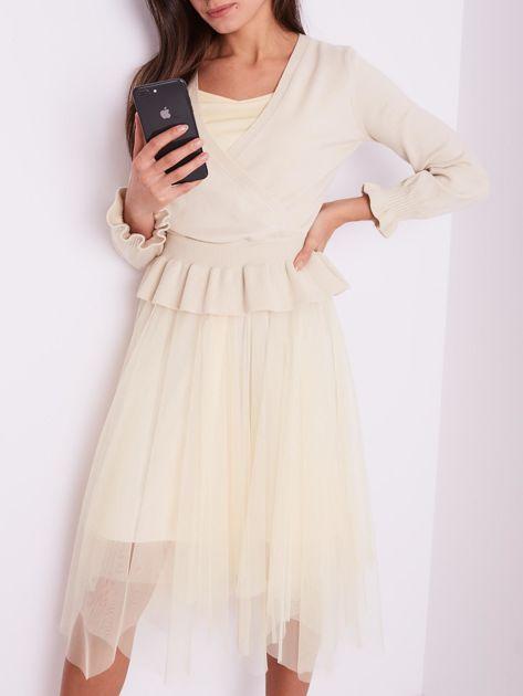 Beżowa tiulowa sukienka                              zdj.                              2