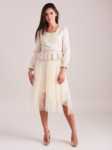 SCANDEZZA Beżowa tiulowa sukienka                              zdj.                              4
