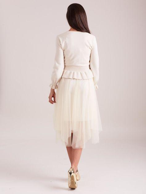 Beżowa tiulowa sukienka                              zdj.                              3