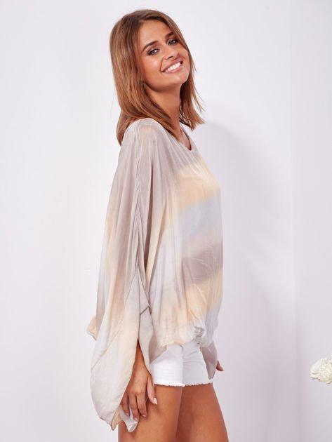 SCANDEZZA Beżowa zwiewna bluzka ombre                              zdj.                              3