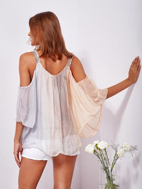 SCANDEZZA Beżowo-szara bluzka ombre bez ramion z cekinami                              zdj.                              2