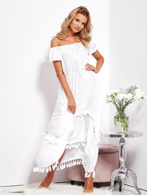 SCANDEZZA Biała asymetryczna sukienka hiszpanka z frędzlami                              zdj.                              1