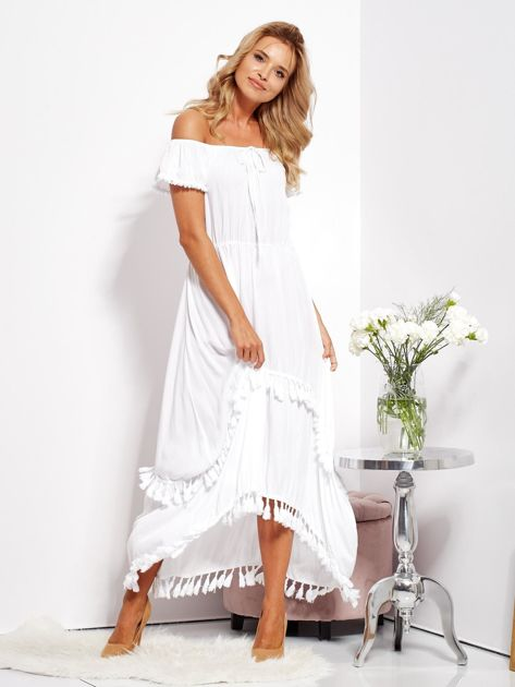 Biała asymetryczna sukienka hiszpanka z frędzlami                              zdj.                              10