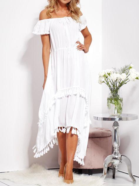 Biała asymetryczna sukienka hiszpanka z frędzlami                              zdj.                              2