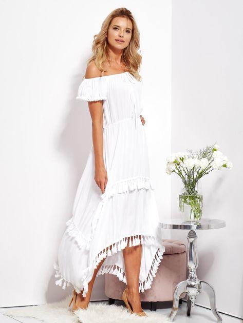 Biała asymetryczna sukienka hiszpanka z frędzlami                              zdj.                              4