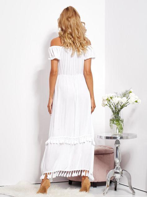 SCANDEZZA Biała asymetryczna sukienka hiszpanka z frędzlami                              zdj.                              7