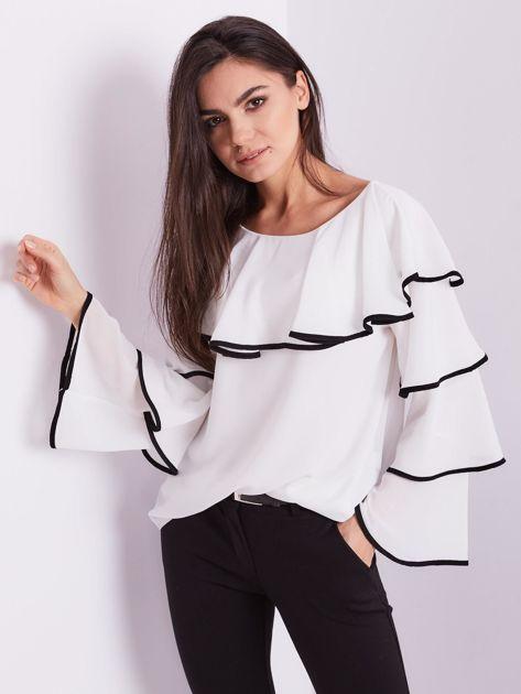 Biała bluzka z falbanami                              zdj.                              7
