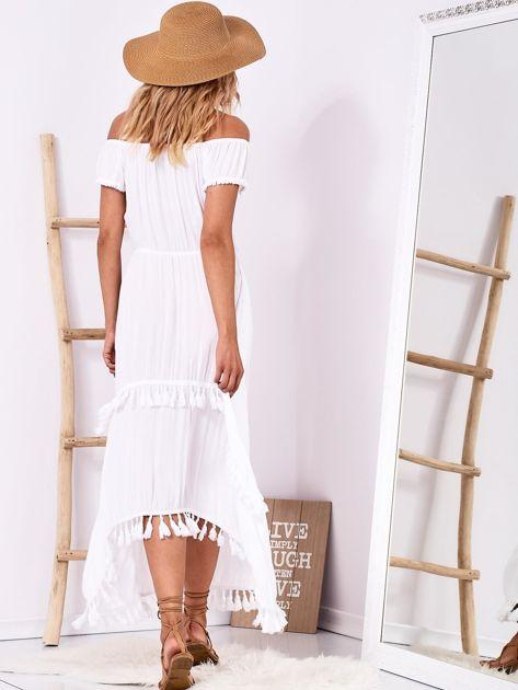 Biała sukienka maxi z asymetrycznym tyłem                              zdj.                              2