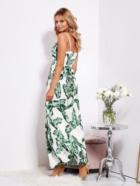 Biało-zielona maxi sukienka w liście z wiązaniem                              zdj.                              7