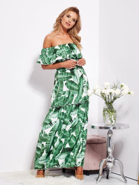 SCANDEZZA Biało-zielona sukienka hiszpanka maxi w tropikalne liście                              zdj.                              12
