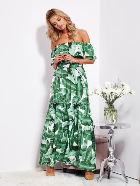 SCANDEZZA Biało-zielona sukienka hiszpanka maxi w tropikalne liście                              zdj.                              14