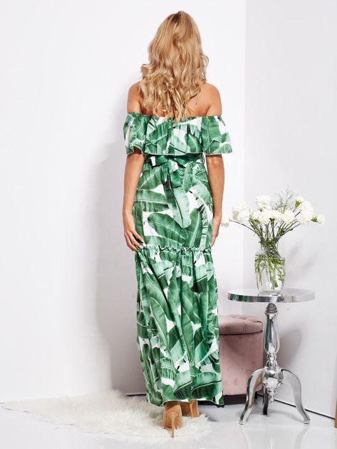 SCANDEZZA Biało-zielona sukienka hiszpanka maxi w tropikalne liście                              zdj.                              5